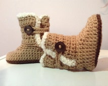 Crochet Furry Trim Baby Boots/Photography Prop/Baby Shower Gift/Choose Size