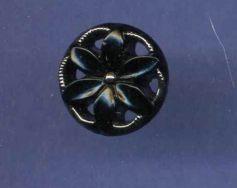 Button, Black Glass, Pierced Flower