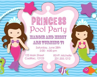 Princess Pool Party Invitation - Mermaid Pool Party
