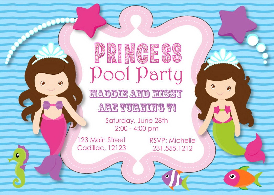Princess Pool Party Invitation Mermaid Pool Party