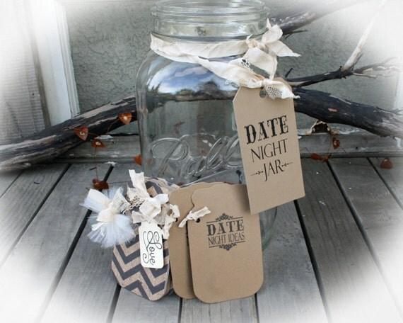 Date Night Ideas Mason Jar Tags Book & Tag sign Bridal Shower