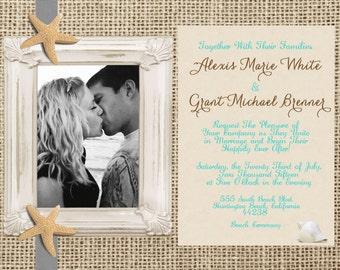 Rustic Beach Wedding Invitation, Burlap Invitation, Photo Beach Invite, Destination Wedding, Printable Wedding Invitation, 5x7