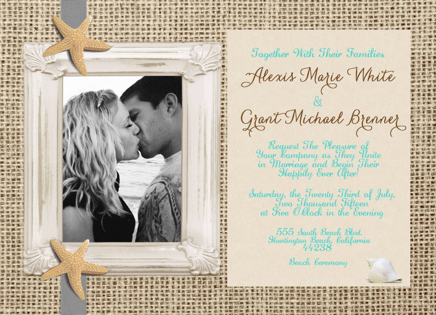 Wedding Invitations With Burlap: Rustic Beach Wedding Invitation Burlap Invitation Photo