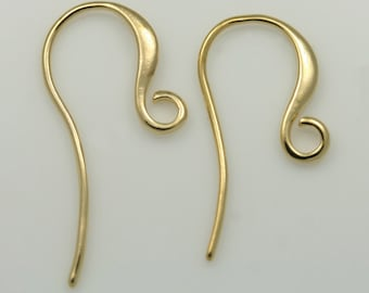 Earring Hooks Earring Findings 16K gold plated over Brass glossy gold Earrings Hoop Supplies - annielov EF3-Gold