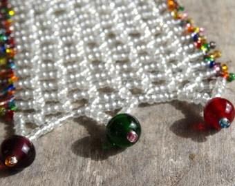 CUFF Bracelet RAINBOWS & RAINDROPS Beadwoven Netting stitch.