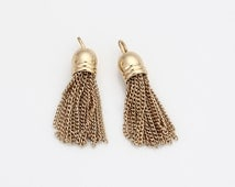 Chain Tassel Pendant Polished Gold-Plated - 2 Pieces [P0477-PG]