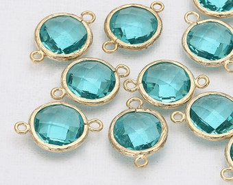 Blue Zircon Round Glass Connector(Parallel)  Polished Gold-Plated - 2 Pieces [G0020-PGBZ]