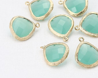 Mint Glass Teardrop Pendant Polished Gold-Plated - 2 Pieces [SS0013-PGMT]