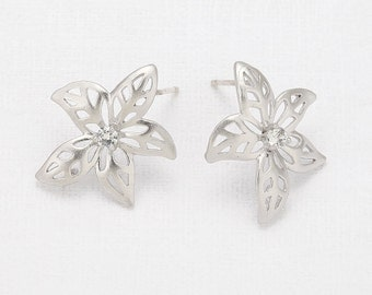 Cubic Flower Post Earring Matte Rhodium- Plated - 2 Pieces <E0045-MR>