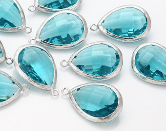 Blue Zircon Teardrop Glass Pendant  Polished Rhodium-Plated - 2 Pieces [G0037-PRBZ]