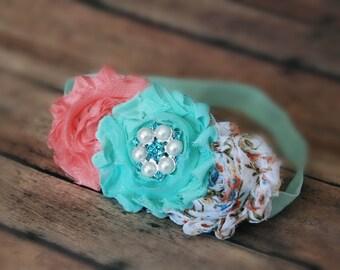 Baby girl Headband, coral aqua Headband,Baby girl Headband,Newborn Headband, Headbands,Shabby Chic Headband, Headband, Baby Headbands