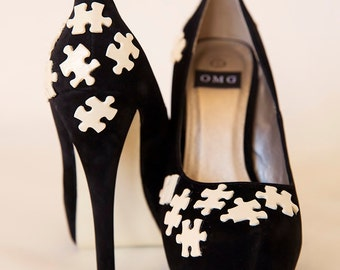 High Heel Shoes - Cream Jigsaw Design - Hand Painted High Heels Customised By OMG SHOES