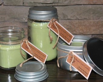 LOVE MY MELONS Maple Creek Candles ~ Cucumber Melon ~ Soy Wax Blend, 3 sizes, Fun Rustic Jar Lid
