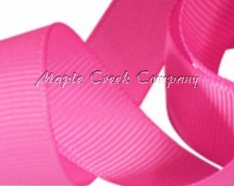 "5 yards Hot Pink Grosgrain Ribbon, 4 Widths Available: 1 1/2"", 7/8"", 5/8"", 3/8"""