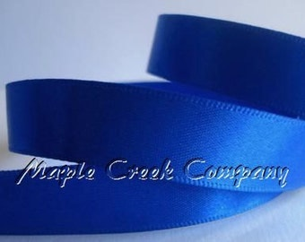 "5 yards of Royal Blue Satin Single Face Ribbon, 2 Widths Available: 5/8"" or 3/8"""