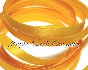 "5 yards of Light Gold Satin Single Face Ribbon, 3/8"" wide"