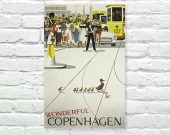 "Wonderful Copenhagen Denmark Vintage Travel Poster, Art Print Posters, Dorm Decor, Minimalist Art, Vintage Advertising Poster 13"" x 19"""