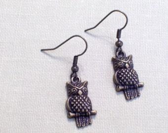 Antiqued Brass Owl on Branch Earrings, Little Bronze Owls, Pierced Dangle Earrings