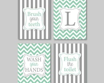 Bathroom Rules Stripe And Chevron Quad Home Decor Bath Shown In