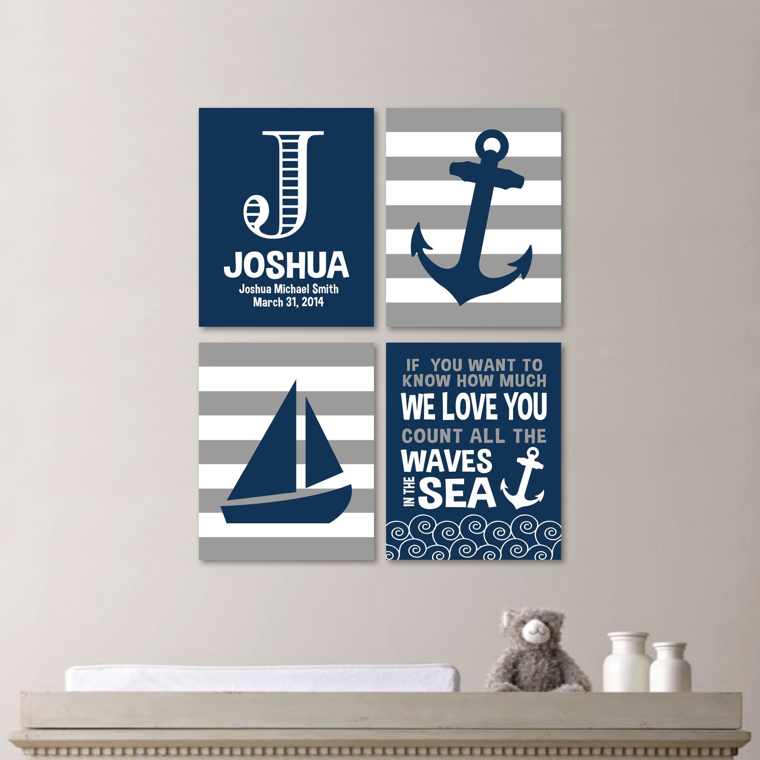 Baby Boy Nursery Art Nautical Nursery Decor Nautical