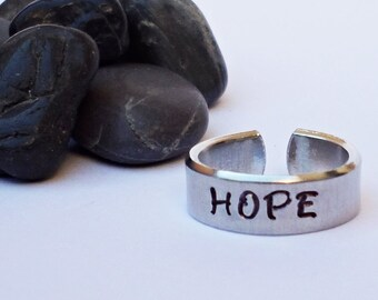 Hope Ring - Personalized Ring - Inspirational Ring - Handstamped Ring - Aluminum Ring - Adjustable Ring - Silver Ring - Custom Ring