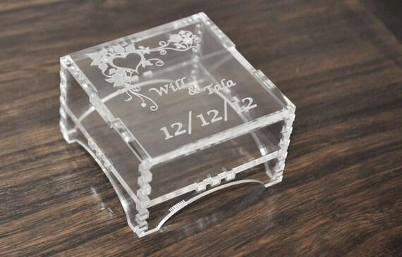 Acrylic Boxes Custom Made : Custom made ring bearer box from clear acrylic laser