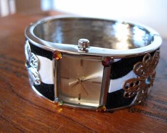 Filigree & Rhinestone Zebra Print Cuff Watch (use TAKE15 for 15% off)