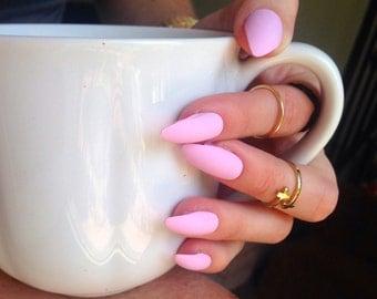 Matte Pink nails, matt baby pink nails, Matte press on nails, pink stiletto nails