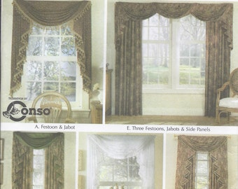 Items similar to mfay gathered fan swag 22 depth for Professional window treatment patterns