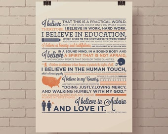 Auburn University Creed Screen Print, Auburn Football Poster, Auburn Poster, Auburn Tigers, War Eagle.