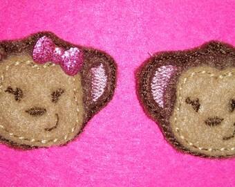 Set of 4 Monkey Felties Feltie Felt Embellishment Bow! Girly Planner Clip Birthday Party Animal Zoo Hair Bow Accessory Decoration
