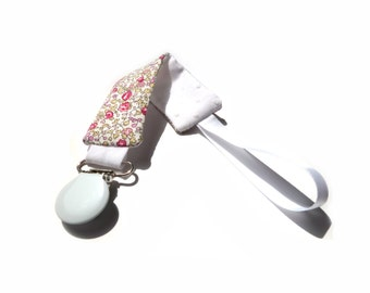 Liberty pacifier Eloise rose white satin and White Ribbon