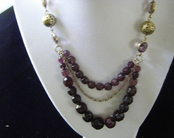 Vintage Monet necklace.  Purple with Gold.  18 inch