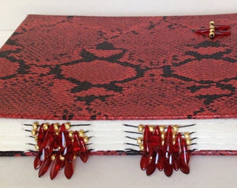Red Reptile Beaded Spine Hand Stitched Watercolor Journal