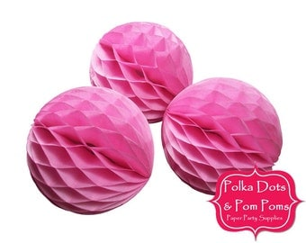 3 x 10cm PINK Tissue Paper Honeycomb Balls / SMALL / Retro Kids Party Supplies / Wedding / Baby Shower