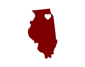 I Love Illinois Custom Die Cut Vinyl Decal Sticker - Choose your Color and Size