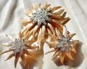 Vintage Rhinestone and Gold Jewelry Funky 1960s Brooch and Earring Set Trifari Coro Lisner Gold Starfish Brooch and Earrings