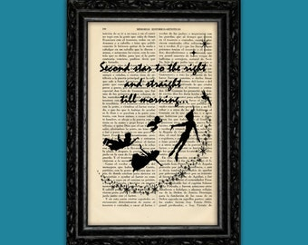 Peter Pan Second Star to Right Silhouette Art Print Hook Book Poster Dorm Room Print Gift Wall Decor Poster Dictionary Print (Nº2)
