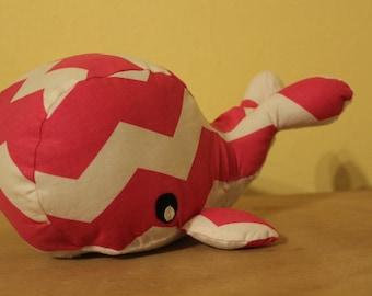 Pink chevron stuffed whale/nursery decor