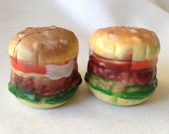 1970's Vintage Hamburger Salt and Pepper Shakers