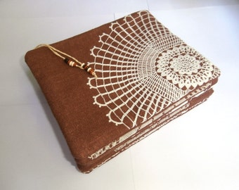 Bridesmaid bag –chocolate brown linen and vintage doily zipper clutch, handmade pouch, cosmetic bag, rustic wedding, bridesmaid gift bag