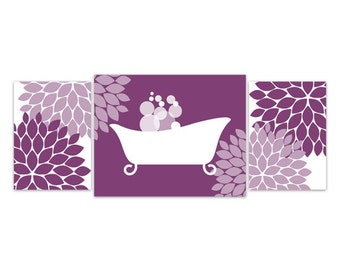 Bathroom Wall Art Purple And White Bathroom Decor Bathtub Art Print Flower Burst