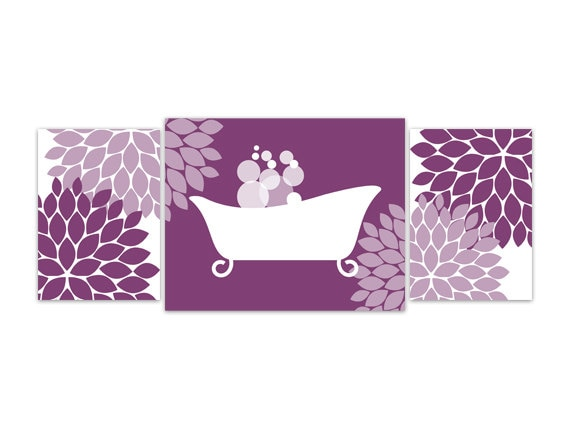 Purple Wall Decor For Bathroom : Items similar to bathroom wall art purple and white