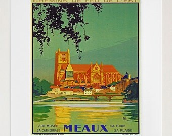 Travel Art Meaux France Print Poster French Vintage Home Decor (XR84)
