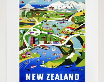 New Zealand Art Vintage Travel Poster Print Home Wall Decor (XR402)
