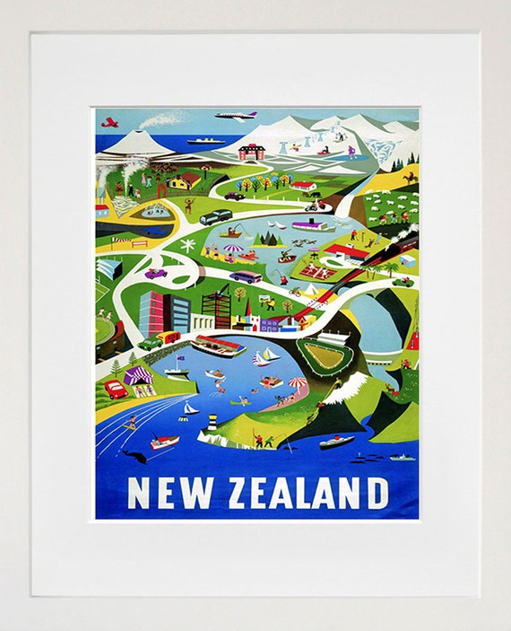 New Zealand Art Vintage Travel Poster Print Home Wall Decor