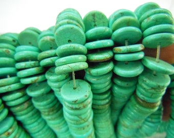 1 strands, 12mm natural howlite turquoise heishi beads, flat round beads.