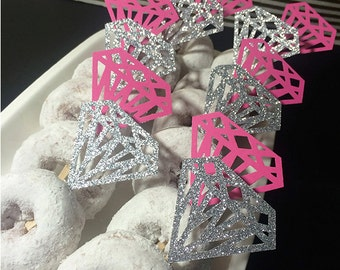 Pink and Silver Glitter Diamond Ring cupcake toppers (set of 12)