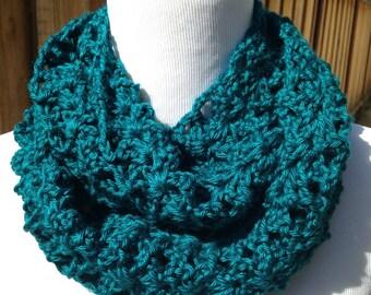 Dark Teal Blue Infinity Scarf; Dark Teal Blue Infinity Cowl; Dark Teal Crochet Cowl; Teal Blue Crochet Scarf; Crochet Scarf; Womens Scarf;