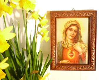 Vintage french small frame with immaculate Madonna, Holy Virgin Mary framed Sacred Heart.French chromolitograph